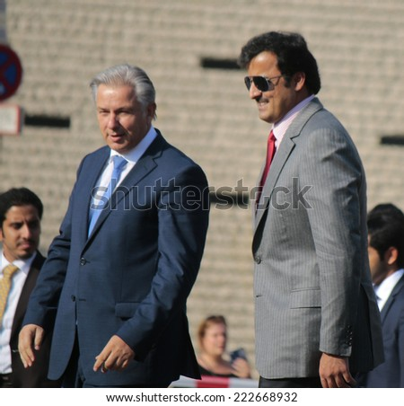 SEPTEMBER 17, 2014 - BERLIN: Klaus Wowereit, Sheikh Tamim bin Hamad bin Khalifa Al Thani, the Emir of Qatar at the Pariser Platz in Berlin, Germany.