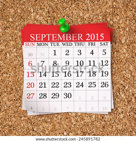 September 2015  Calendar on cork board , 3d render - stock photo