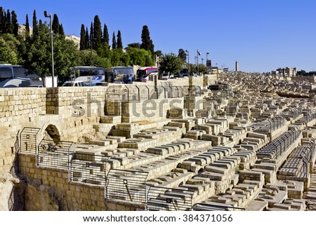 September 23, 2012 .Jerusalem. View of tombs on the mount of olives to the old city of Jerusalem. Israel.