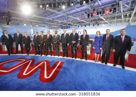 September 16, 2015, Lindsay Graham, George Pataki, Rick Santorum, Rand Paul, Marco Rubio, Ted Cruz, Ben Carson, Donald Trump, Jeb Bush, Scott Walker, Carly Fiorina, Chris Christie, Simi Valley, CA. - stock photo