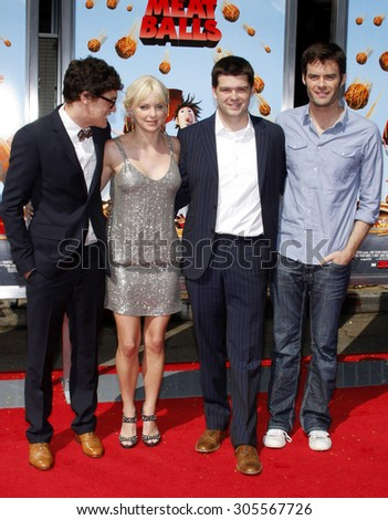 """September 12, 2009. Phil Lord, Anna Faris, Chris Miller and Bill Hader at the Los Angeles premiere of """"Cloudy With A Chance Of Meatballs"""" held at the Mann Village Theater, Los Angeles.  - stock photo"""