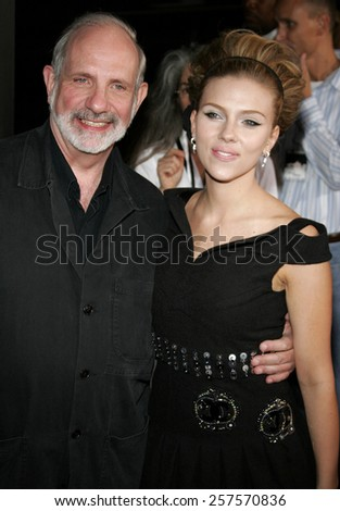 """September 6, 2006. Scarlett Johansson and Brian De Palma at the Los Angeles Premiere of """"The Black Dahlia"""" held at the Academy of Motion Picture Arts and Sciences in Beverly Hills, California.  - stock photo"""