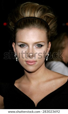 "September 6, 2006. Scarlett Johansson attends the Los Angeles Premiere of ""The Black Dahlia"" held at the Academy of Motion Picture Arts and Sciences in Beverly Hills, California United States.  - stock photo"