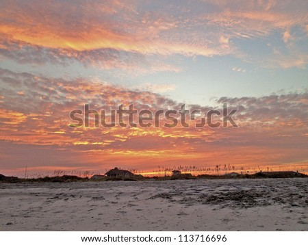 September sunset at Wrightsville Beach, North Carolina - stock photo