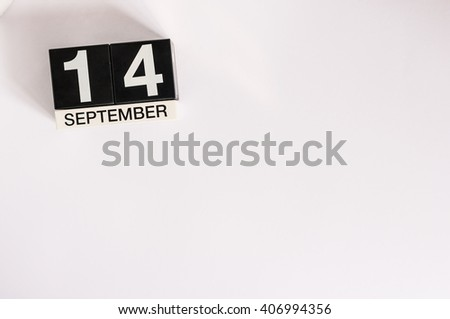 September 14th. Image of september 14 wooden office calendar on white background. Autumn day. Empty space for text - stock photo