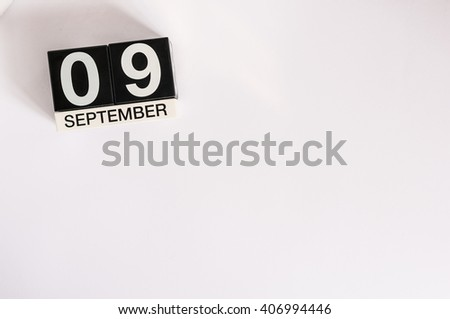 September 9th. Image of september 9 wooden table calendar on white background. Autumn day. Empty space for text. International Beauty Day - stock photo
