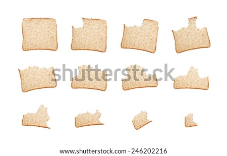 Sequence of biting a slice of wholemeal bread isolated on white background  - stock photo