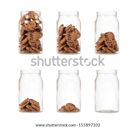 Sequence of jar of cookies from full to empty isolated on white background  - stock photo