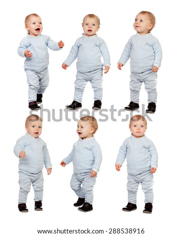 Sequence of little baby isolated on a white background - stock photo