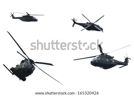 Sequence of shots of a helicopter in flight during a military demonstration - stock photo