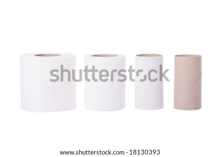 Sequence of toilet paper rolls from new to empty - stock photo