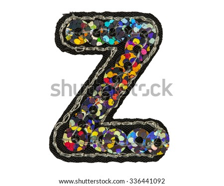 Sequin covered font isolated on white, capitol letter Z - stock photo