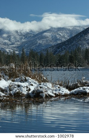 Sequoia Forest lake with new snow