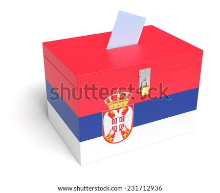 Serbia ballot box with Serbian Flag. Isolated on white background. - stock photo