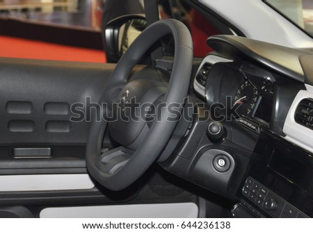 Serbia; Belgrade; April 2, 2017; The close up of Citroen Cactus steering wheel ind its interior; The 53rd International Motor Show in Belgrade from March 24th to April 2nd, 2017.
