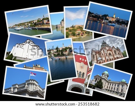 Serbia country photo collage. Travel photos collection with Belgrade (capital city), Novi Sad, Subotica, Danube River and Golubac Fortress. - stock photo
