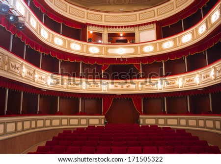 """Serbia-December 15.2013 ; city of Zrenjanin,Baroque hall of the old National Theatre """"Tosa Jovanovic"""".Built in the 19th century, 1835.style of classicism. photography - stock photo"""