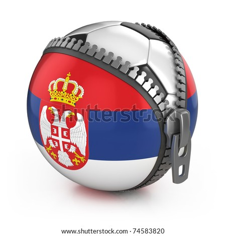 Serbia football nation - football in the unzipped bag with Serbian flag print - stock photo