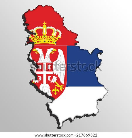 Serbia map with the flag inside.