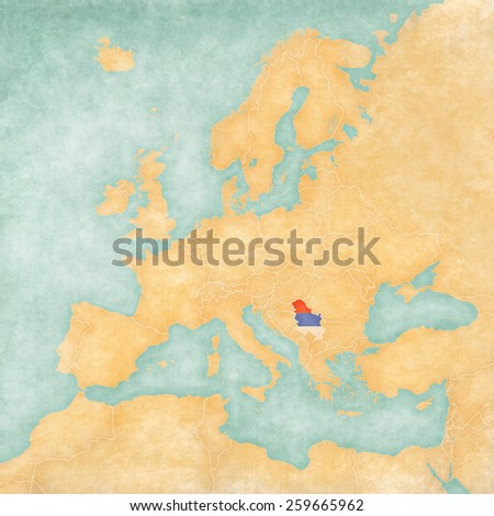 Serbia (Serbian flag) on the map of Europe. The Map is in vintage summer style and sunny mood. The map has soft grunge and vintage atmosphere, which acts as watercolor painting on old paper.  - stock photo