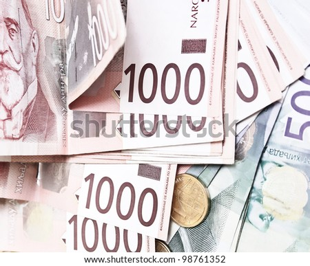 Serbian currency close up