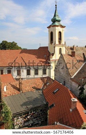 Serbian orthodox church in Szentendre, hungarian town, that is known for its galleries, arts and museums. - stock photo