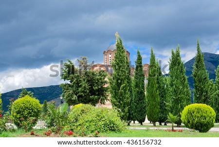 Serbian Orthodox monastery - stock photo