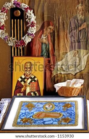 Serbian Orthodox monastery Altar - stock photo