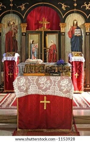Serbian orthodox Monastery alter - stock photo