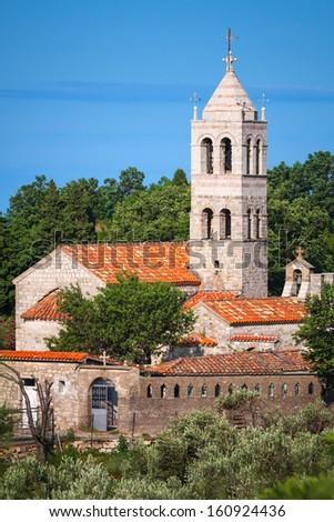 Serbian Orthodox Monastery of Rezevici in Montenegro - stock photo