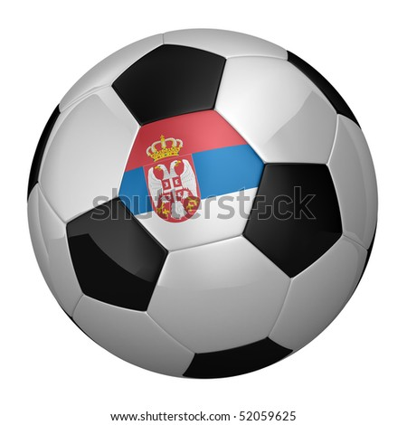 Serbian Soccer Ball isolated over white background - stock photo