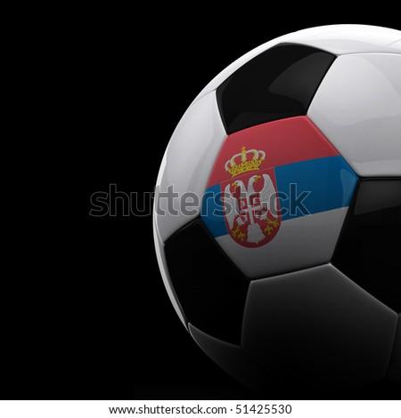 Serbian soccer ball on black background - stock photo