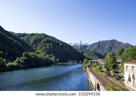 Serchio River from Devils Bridge - stock photo