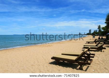 Serene morning beach - stock photo