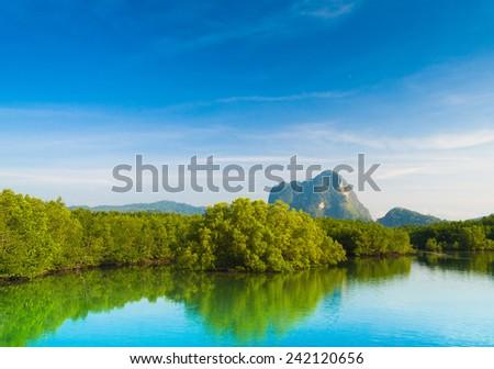 Serene River Mountains Afar  - stock photo