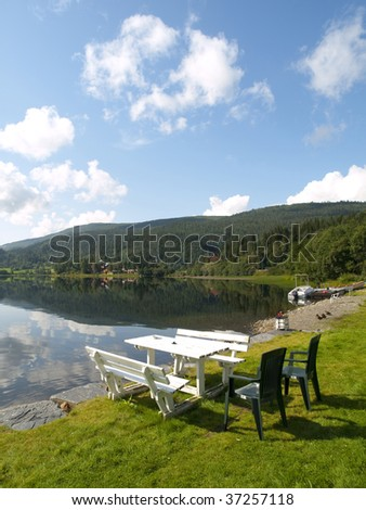 Serene Scenery in the norweigan fjords near the village of Voss - stock photo