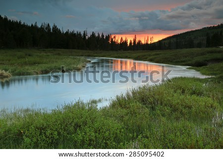 Serene sunset landscape by the Bear River, Utah, USA. - stock photo