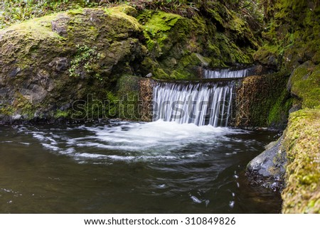serene waterfall in the central oregon coast, inspiring peace and tranquility - stock photo