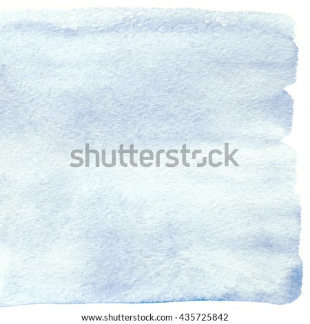 Serenity square watercolor banner. Trend blue watercolor background isolated on white - stock photo