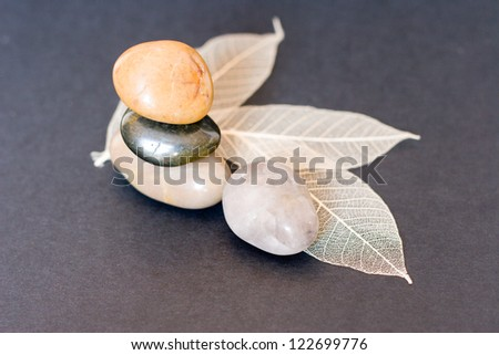 serenity stones with dry leaves - stock photo