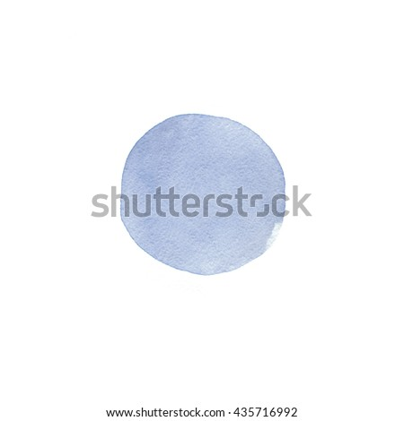 Serenity watercolor background. Fashion blue watercolor spot isolated on white - stock photo