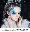 Series. Beautiful brunette in a dress of Snow Queen - stock photo