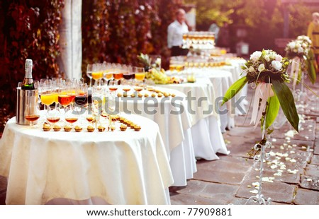 Series. Champagne on the table - stock photo
