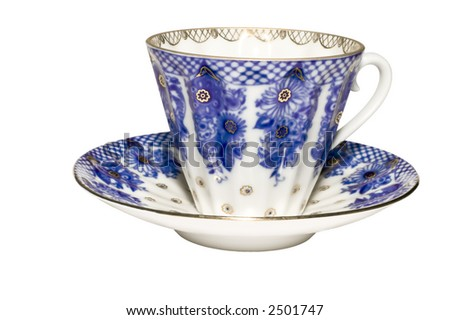 series object on white Blue tea cups