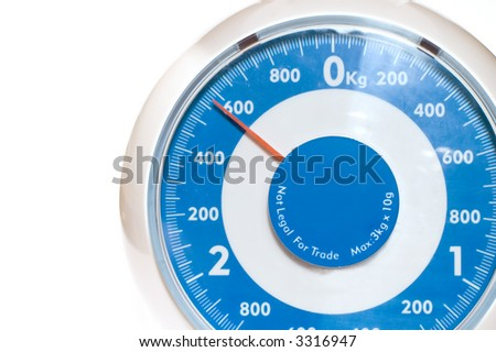 series: object on white: Kitchen tool scales - stock photo