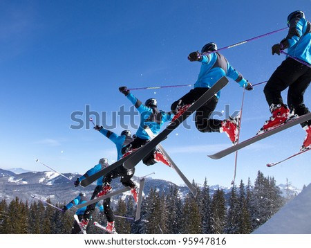series of a skier in a jump - stock photo