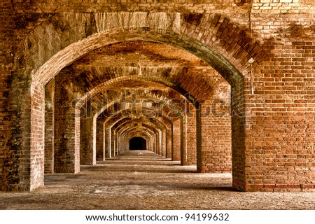 Series of arches within Fort Jefferson at Dry Tortugas National Park near Key West, Florida - stock photo