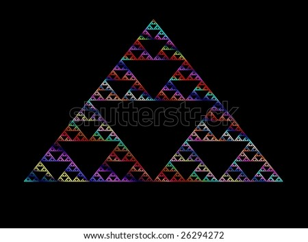 Series of colorful triangles connected to create a larger triangle with black background - stock photo