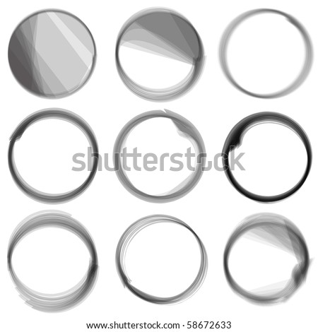 Series of hand drwn ink circles. - stock photo