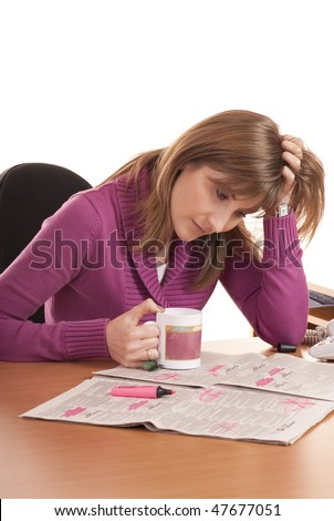 Series of images with young woman searching for ads and job in the newspaper. She is in despair. Isolated on White. - stock photo